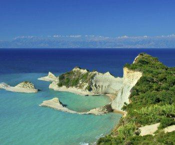 Cape Drastis with nearby islands on Corfu island, Greece