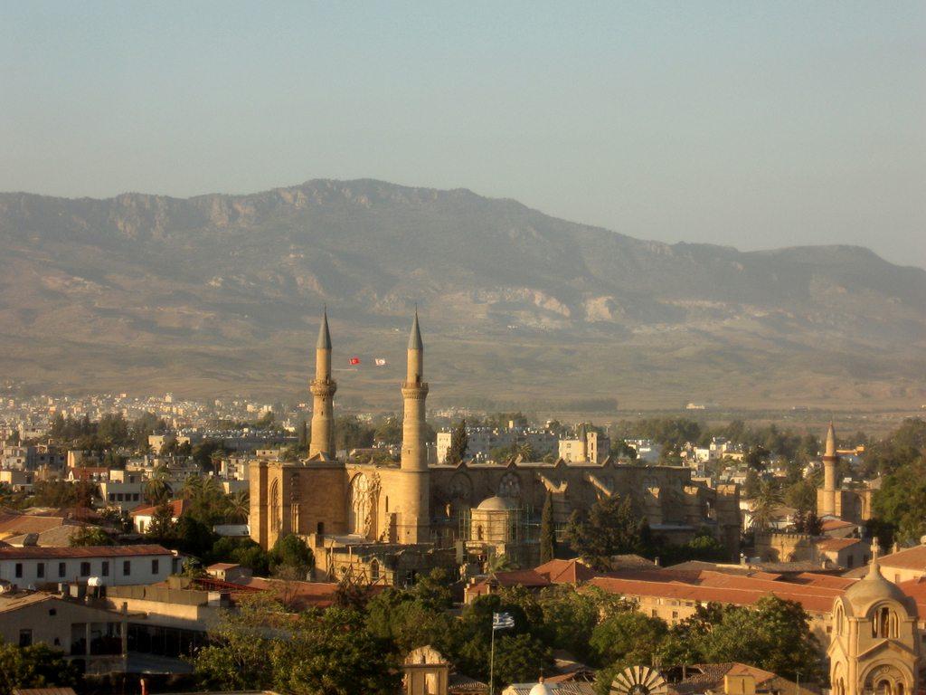 South Cyprus - Lefosa, Nicosia South: panorama on North part of the city: Santa Sofia